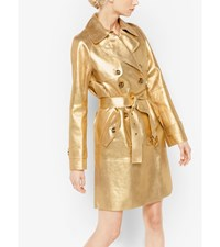 Bonded Metallic Leather Trench Coat Gold