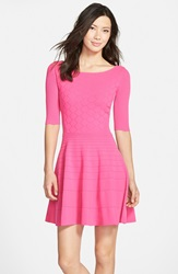 Eliza J Fit And Flare Sweater Dress Hot Pink