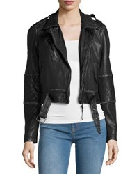 Nicole Miller Artelier Leather Belted Moto Jacket Black