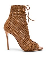 Gianvito Rossi Woven Leather Booties In Brown