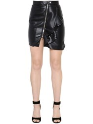 Givenchy Zip Up Faux Leather Mini Skirt W Ruffle