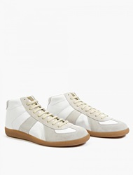 Maison Martin Margiela 22 White Leather And Suede Hi Top Replica Sneakers