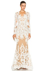 Zuhair Murad Lace Mermaid Gown In Neutrals White