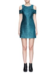 Topshop Metallic Tinsel Cold Shoulder Dress Green