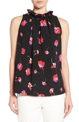 Cece Women's 'Floral Melody' Print Sleeveless Ruffle Neck Blouse