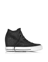 Converse All Star Mid Lux Sting Ray Metallic Leather Wedge Sneakers Black