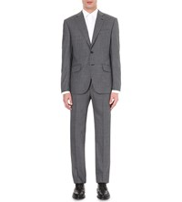 Hardy Amies Brinsley Fit Checked Wool Suit Mid Grey