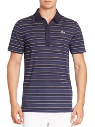 Lacoste Ultra Dry Striped Polo Shirt Navy Blue France White White France Navy Blue