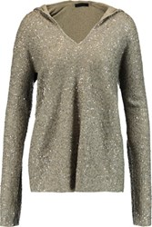 Donna Karan New York Sequined Cashmere Hooded Top Anthracite