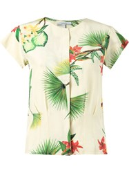 Isolda Short Sleeve Floral Blouse White