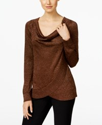Inc International Concepts Draped Metallic Sweater Only At Macy's Bronze