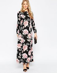 Asos Floral Maxi Dress With Tie Front Multi