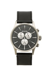 Nixon Sentry Chrono Leather Black