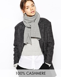 Johnstons Cashmere Ribbed Scarf Lightgrey