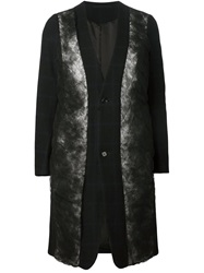 Comme Des Garcons Tulle Panel Checked Coat Black