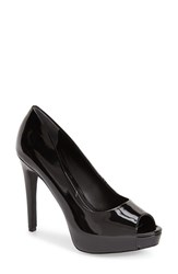 Women's Charles By Charles David 'Fox' Platform Peep Toe Pump Black Patent Leather