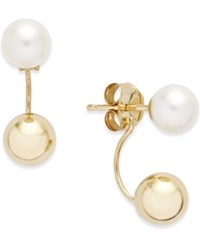 Macy's Freshwater Pearl 5 5 1 2Mm And Ball Front And Back Earrings In 14K Gold White