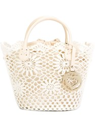 Twin Set Crochet Detail Tote White