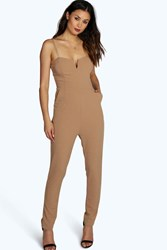 Boohoo Mary Strappy Woven Jumpsuit Taupe