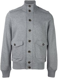 Eleventy Button Down Bomber Jacket Grey