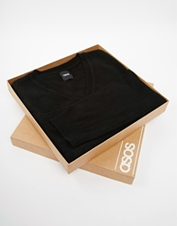 Asos Merino V Neck Jumper In Gift Box Black