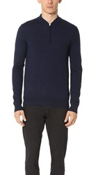 Club Monaco Merino Quarter Zip Sweater Navy Mouline