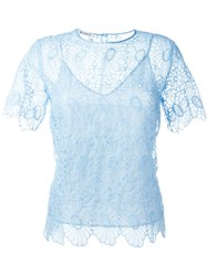 Dondup Embroidered Lace Shortsleeved Top Blue
