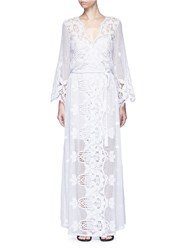 Miguelina 'Lucinda' Scalloped Lace Maxi Dress White