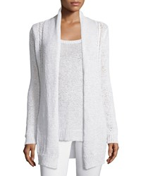 Neiman Marcus Cashmere Collection Long Cable Knit Cardigan White