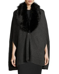 Three Dots Cape Cardigan W Removable Faux Fur Mink