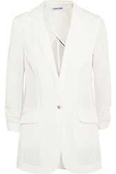 Elizabeth And James Jamie Cotton Blend Sateen Blazer White