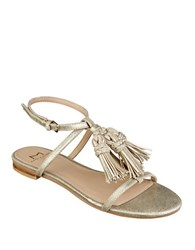 Marc Fisher Crystal Tassel Accented Leather Sandals Gold