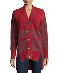 Prabal Gurung Long Sleeve Split Hem Cardigan Red