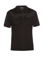 Alexander Mcqueen Wings Applique Cotton Pique Polo Shirt Black