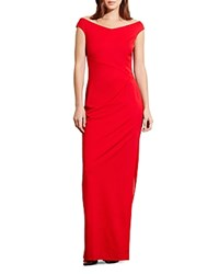Ralph Lauren Off The Shoulder Gown Orient Red