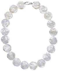 Macy's Mother Of Pearl Flower Collar Necklace In Sterling Silver 20Mm
