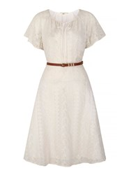 Yumi Lace Peasant Day Dress With Belt Included