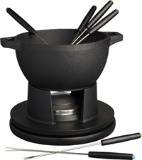 Cb2 Black Cast Iron Fondue Set