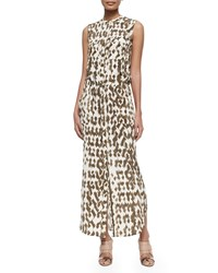 Vince Ikat Print Cargo Maxi Dress Sandbar Off White