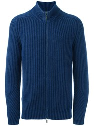 Iris Von Arnim Zipped Cardigan Blue