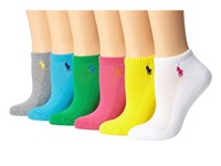 Lauren Ralph Lauren Cushion Sole Mesh Top Ped 6 Pack Assorted Blue Green Pink Grey Yellow White Women's Low Cut Socks Shoes Multi