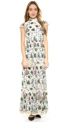 Alice Olivia Arwen Embroidered Gown Off White Multi