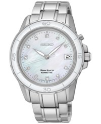Seiko Women's Kinetic Sportura Diamond Accent Stainless Steel Bracelet Watch 37Mm Ska881 No Color