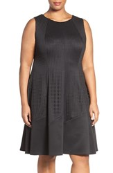 London Times Plus Size Women's Laser Cut Scuba Knit Fit And Flare Dress