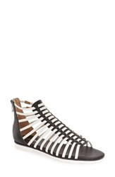 Women's Calvin Klein 'Maze' Gladiator Sandal Black White Leather