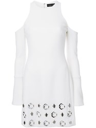 David Koma Embellished Open Shoulder Dress White