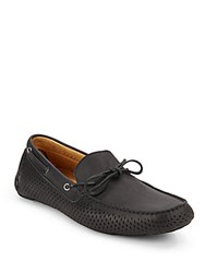 Saks Fifth Avenue Perforated Leather Loafers Black