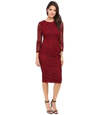 Jessica Simpson Floral Lace Midi Dress Cabernet Women's Dress Burgundy
