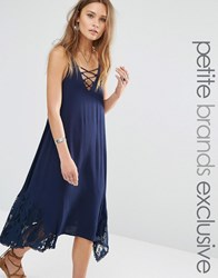 Sister's Of The Tribe Sisters Of The Tribe Petite Lace Up Crochet Insert Midi Swing Dress Navy