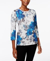 Alfred Dunner Crescent City Collection Embellished Floral Print Top Multi